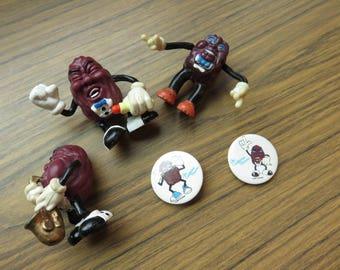 Vintage Lot of California Raisin Figures Button Magnet