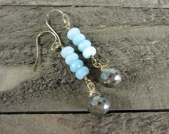 Peruvian Opal Earrings, Light Blue Opal Dangle