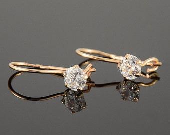 Tiny earrings, Small earrings, Dangle earrings, Gold dangle earrings, Cute earrings, Minimal earrings, Pretty earrings, White stone earrings