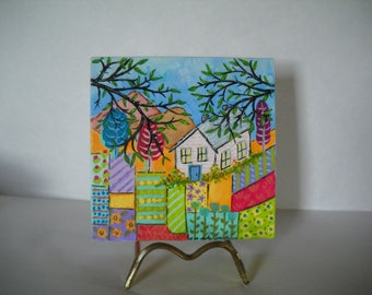 Canvas art, acrylic painting, small canvas art, countryside painting, housewarming gift, new home gift, house art, garden art