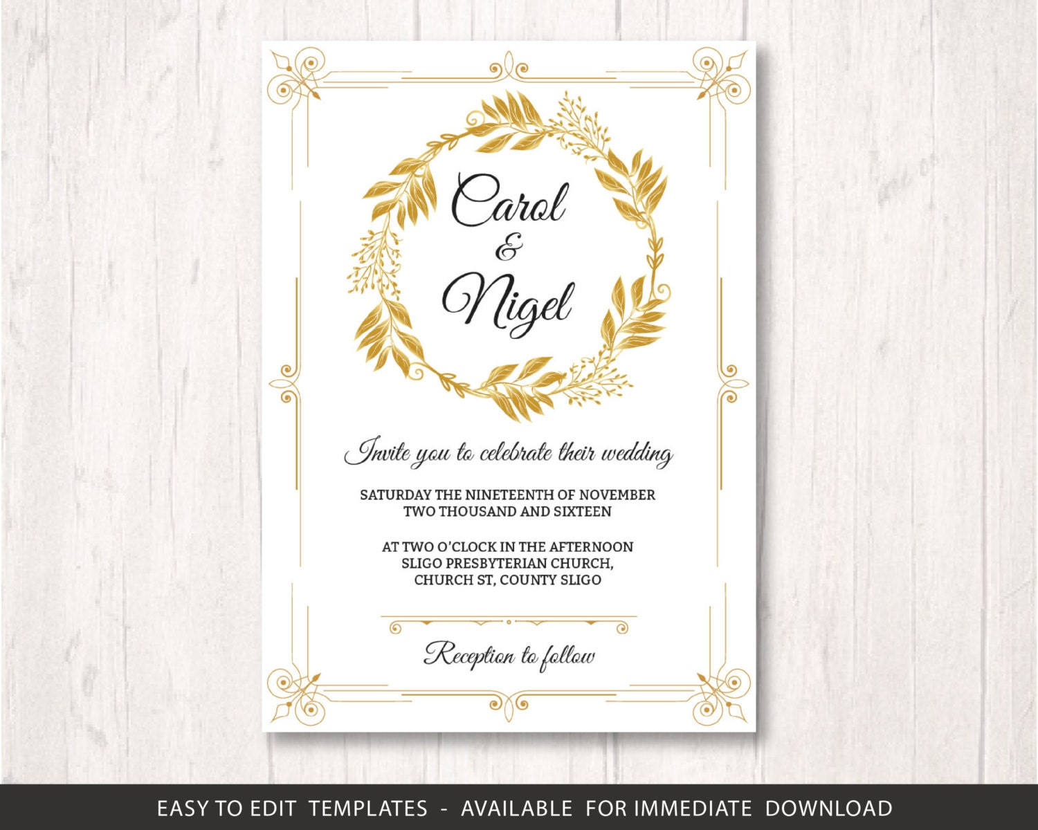 Gold wedding invite template printable wedding invitation zoom monicamarmolfo Gallery