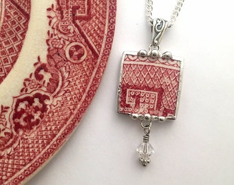 Broken china jewelry -  necklace pendant - antique red pink willow - broken china jewelry necklace - Swarovski crystal