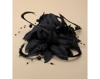 Black Fascinator. Flower Feather Beaded Fascinator, Head Piece, Christening, Wedding, Races, Corsage Brooch, Black Flower Fascinator