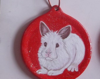 White Rabbit Hare Custom hand Painted Christmas Ornament Decoration
