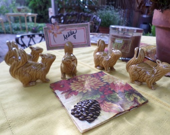 Set of Six Vintage Ceramic Squirrel Place Card Holders-Fall/Thanksgiving Serving/Table