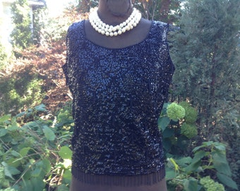 1960s Blouse Top / Black Sequin Hand Beaded Blouse Sz M / Vintage Sequin Blouse Top