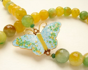 vintage enameled butterfly BEADED necklace, BEADWORK, butterfly brooch pendant, mint lemon quartz stone statement jewelry