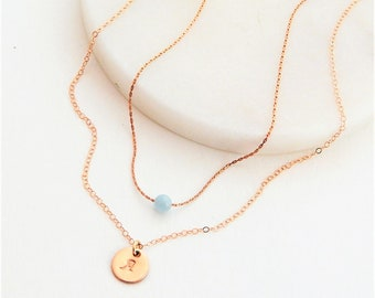 Initial Necklace • Layered Necklace • Personalized Initial Birthstone • Mom Jewelry • Girlfriend Gift • Dainty Gold Necklace