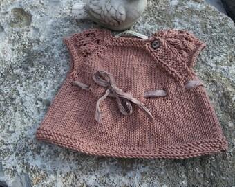 Unique Hand Knit Merino Wool Cashmere Baby Girl Newborn Short-Sleeved Sweater