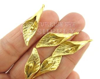 5 pc Lily Flower Pendant, 22K Gold Plated Fleur-De-Lis Pendant, Turkish Necklace Findings, Jewelry