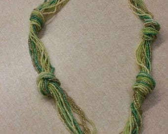 On Sale Green and Gold Toned Tiny Braided 38 inch Necklace Costume Jewelry Fashion Accessory
