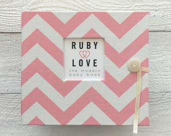 BABY BOOK | Baby Pink Chevron Stripe Album