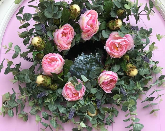 Eucalyptus and peony wreath
