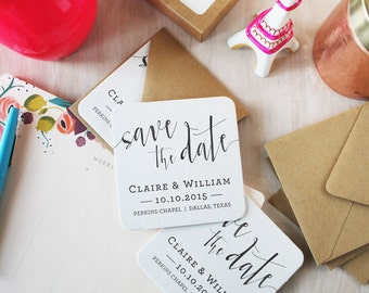 Calligraphy Letterpress Save the Date Coaster