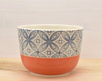 Bowl coral coffee - blue stars
