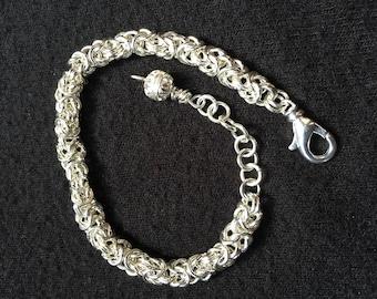 Sterling Silve Byzantine Bracelet, Byzantine Chain Maille Bracelet, Sterling Silver Bracelet, Byzantine,