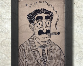 Groucho Marx print + 3 for 2 offer! size A3+  33 x 48 cm;  13 x 19 in