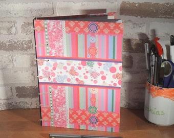 Notebook A5 - button pink / / journal / / Blankobuch / / secret Belgian binding / / gift for you / / girlfriend