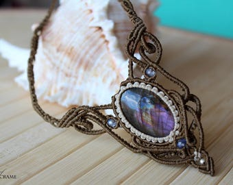 Labradorite micro macrame necklace| Handmade unique jewelry| Original gifts for her| Healing stone and crystal| Dark green necklace