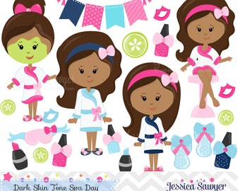 INSTANT DOWNLOAD, dark skin tone spa clipart and vectors for personal and commercial use