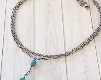 Turquoise TRINITY-SterlingNecklace/Antiqued-3 Strand