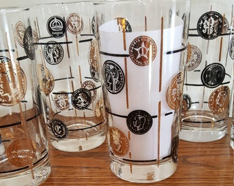 Vintage-Set of 6 Coin Drink/Barware - Mid Century Tumblers - Black and Gold