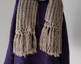 Chunky Rustic Crochet Scarf and Hat Set