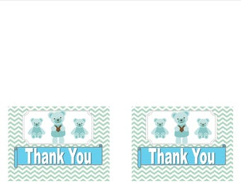 Blue Teddy Bear Thank You Cards for Baby Shower