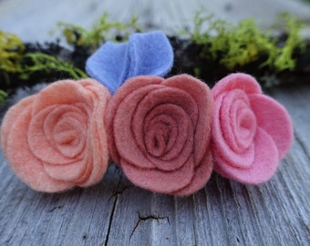 Felt Flower Barrette, Girls Hair Clip in Summer Pastels