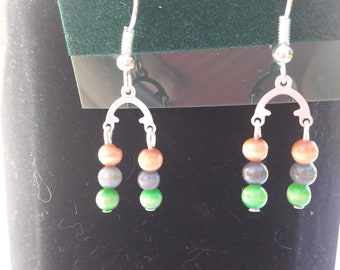 MULTI-COLORED BEADED Chandelier Earrings