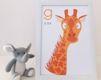 G is for Giraffe - Children's Nursery Print