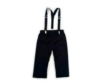Ring Bearer Outfit, Baby Boy Suit, Black Suit, Toddler Suit, Baby Boy, Black Ring Bearer, Ring Boy, Pageboy Outfit, Suspender Pants, Black