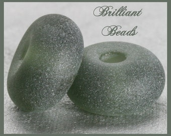 "Frosted Charcoal Grey...""Sea Glass"" Spacer Bead Pair...Handmade Lampwork Beads SRA, Made To Order"