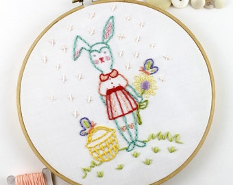 Hand Embroidery Digital Pattern Easter Bunny  Spring Cute