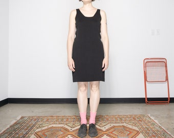 90s Black Minimal Knit Tank Dress / Size S-M