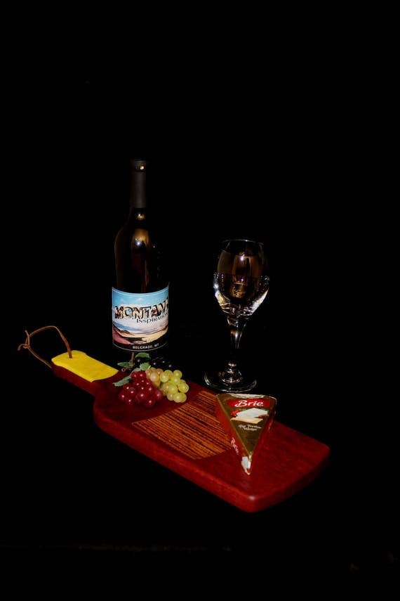 Custom Fun Style Handmade Unique Wooden Inlayed Wine Bottle Cutting Board