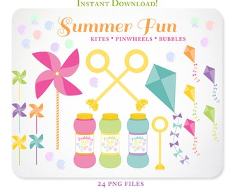 Summer Fun Pinwheel Kite & Bubbles Clipart - Design Elements, Blog Graphics- Instant Download