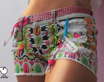 hippie shorts. recycled denim. GROOVY. custom hand painted wearable art. by artfink.