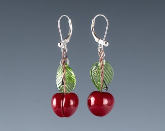Glass Cherry Earrings / Red Cherry lampwork bead jewelry hand blown glass art birthday gift, Mother's Day gift for gardener, cook, chef