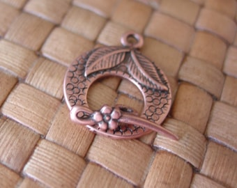 18x22 mm Textured Round With Leaf and Flower Design Antiqued Copper Plated Pewter Toggle Clasps