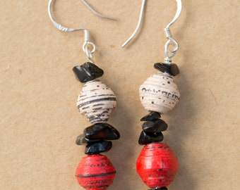 Bright dangly paper bead and onyx earrings with sterling silver earring hooks.