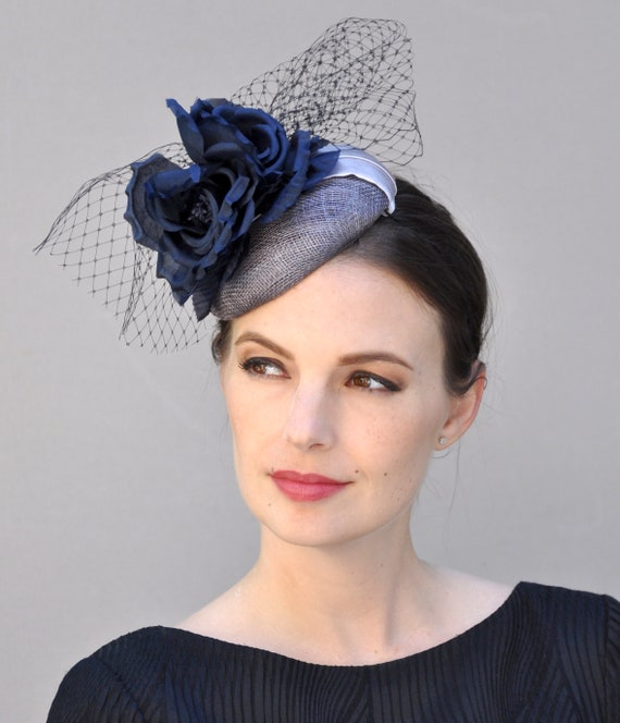 Kentucky Derby Fascinator, Wedding Fascinator hat, Navy Fascinator Hat