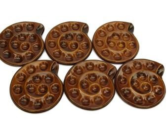 French Vintage Escargot Plates by Saint Clement. Set of 6 Snail Dishes. Baked Mushroom Oven Dishes.