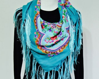 Boho Scarf, Hipster Scarf, Hippie Scarf, Blue Scarf, Scarf for Women, Valentine's Day Gift, Ethnic Scarf, Women Scarf, Tribal Scarf, Scarves