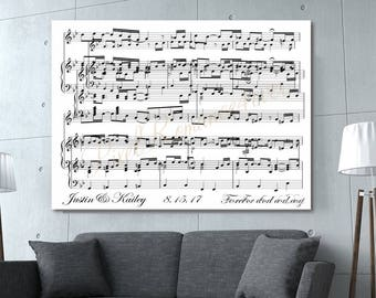 Canvas Music Art First Dance Song First 3rd Anniversary Overlapping Sheet Music Print Personalized CANVAS Music Wrap Choose Colors