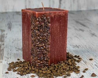 Brown Coffee Scented Candle with Coffee Beans 10cm x 10cm x 15cm Square Pillar Shape. Idea for Home Decoration, Gift, Present, Relaxation