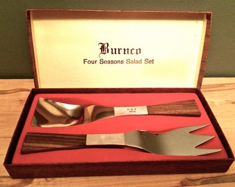 NIB 1970's HOSTESS Serving SET  Stainless Steel and Wood