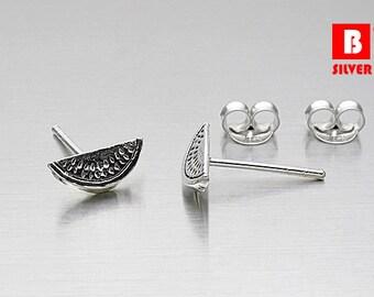925 Sterling Silver Oxidized Earrings, Watermelon Earrings, Stud Earrings (Code : K10A)