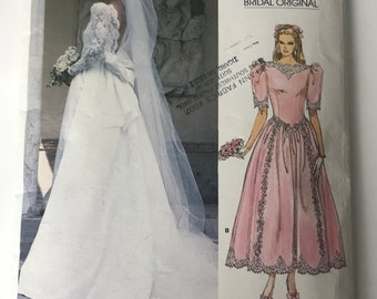 Vogue bridal original #1983 vintage 1980's Size 8 Women's Sewing Pattern for Diana Wedding Dress w/low back/lace and Bridesmaid  UNCUT NEW