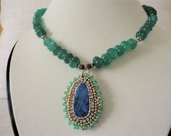 emerald necklace with australian opal ,  emerald gold jewelry , gold filled with gem , fine gem jewelry ,  green gem necklace , opal jewelry